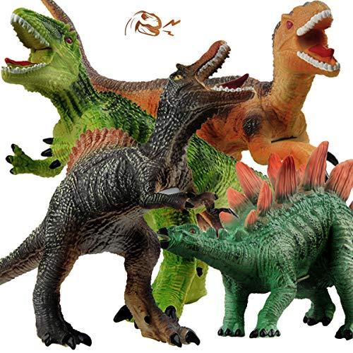 GizmoVine Dinosaurier Spielzeug ,4 Stück Jumbo Dinos 31cm weiche Dinosaurier Figuren mit Realistischem Dinosaurier Klang Tiere Spielzeuge für Jungen Mädchen Kinder