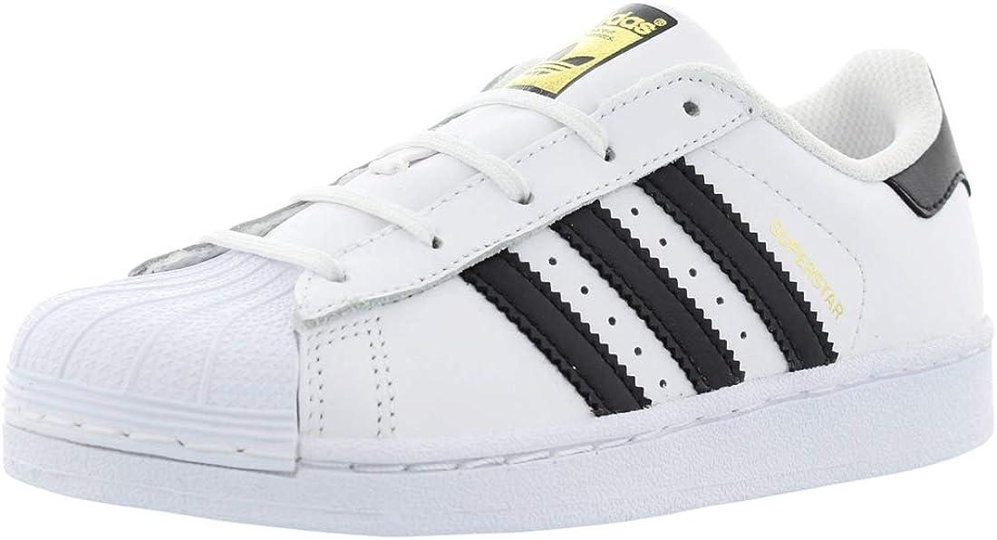 adidas Superstar C Sneaker (Little Kid),White/Black,12