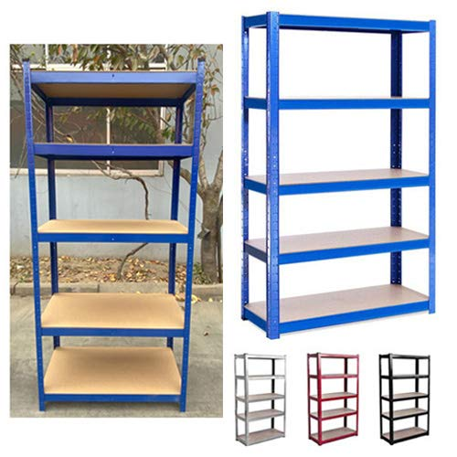 BRIEFNESS Garage Shelving Units: 150cm x 70cm x 30cm | Heavy Duty Racking Shelves for Storage - Red 5 Tier (175KG Per Shelf), 875KG Capacity | For Workshop, Shed, Office | 5 Year Warranty