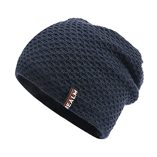 ManxiVoo Winter Beanie Knit Hats for Men & Women - Daily Knit Ribbed Cap - Warm Skull Caps for Cold Weather (Navy)