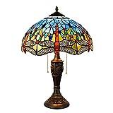 WMING 16 Pulgadas Tiffany Lámpara De Mesa Retro Estilo De Vidrio Teñido Artesanal Clásico Antiguo Patrón Lámpara De Noche De La Lámpara De Cabecera