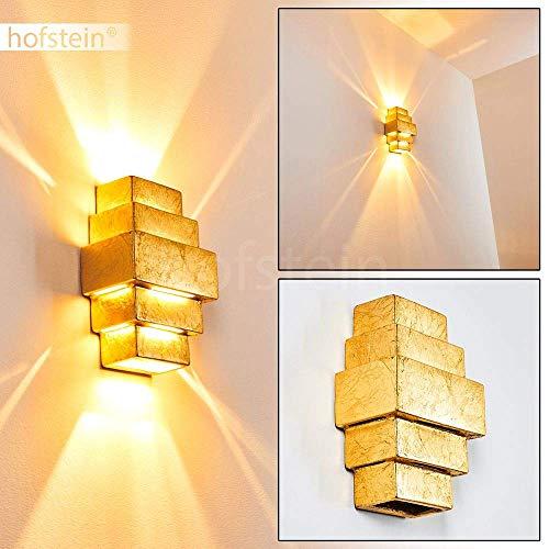 Tokyo keramische wandlamp in goud, wandlamp met up & down effect, 2 x G9 fitting max. 33 Watt, binnenwerklamp met bladgoud optiek, geschikt voor LED-lampen