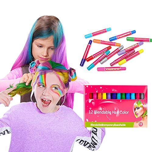 YUESUO Hair Chalk Set for Girls,Kids Makeup Kit for Girl of 12 Temporary Hair Color Dye,Great Toys Gifts for 5 6 7 8 9 10 11 12 13 14 Year Old Girls,Hair Color Markers & Face Paint Pens For Birthday Party Cosplay Halloween, Christmas