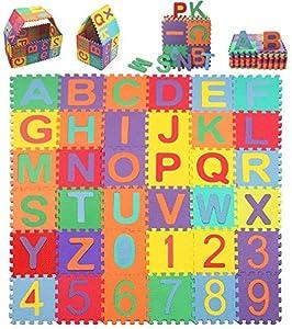 Puzzle Suelo Bebe, Alfombra Puzzle Infantiles 36Piezas 15x15cm con Numeros 0 al 9 y 26 Letras Alfabeto, Educativa Manta Juegos Tapete de Espuma para bebés