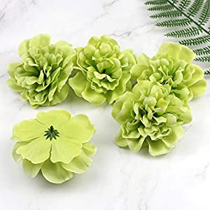 Artificial and Dried Flower Apple Green 5pcs Large Fake Peony Dahlia Rose Artificial Silk Flower Heads Wedding Home Decor 4.5″