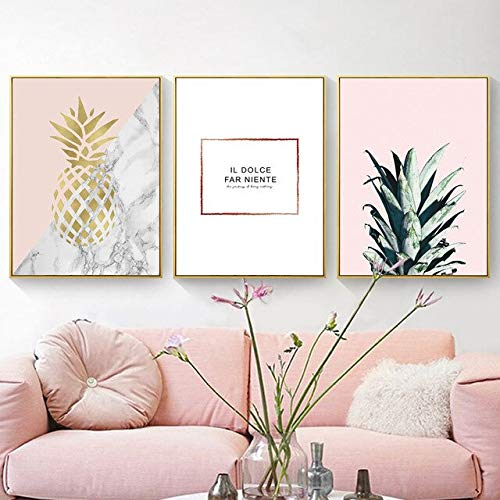 N / A Gold Pineapple Marble Pattern Minimalist Living Room Decoration Canvas Painting Photo Prop Background Frameless 33x43cm