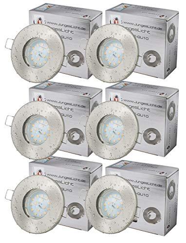 6er Set Einbaustrahler Aqua Farbe Edelstahl gebürstet IP65 5Watt 230V LED 3000Kelvin 430Lumen Badezimmerlampe