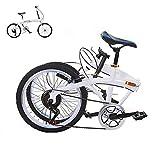 XUELIAIKEE Fibra De Carbono Bicicleta Plegable,20 Inch Ligera Bicicleta 6-Velocidad Engranajes Ciclismo Viajero Bicicleta De Trekking para Adultos Estudiante Al Aire Libre Deportes-Blanco 20 Pulgadas
