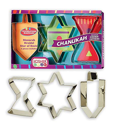 Hanukkah Cookie Cutter Set – 3 Pieces – Menorah, Dreidel and Traditional Star Shaped Metal Cutters - Chanukah Cookware and Bakeware by The Kosher Cook