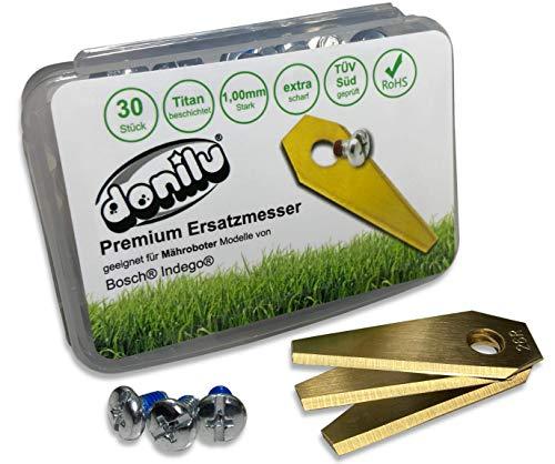 30 cuchillas de repuesto de titanio compatibles con Bosch Indego, robot cortacésped o cortacésped