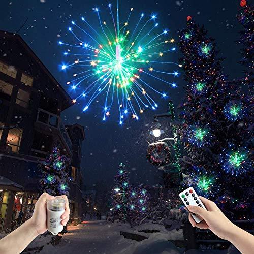 ILOVEDIY Feu d'artifice 180 LED Guirlande Lumineuse a Pile avec Télécommande Fil de Cuivre Decoration Mariage Noël (Multicolore)