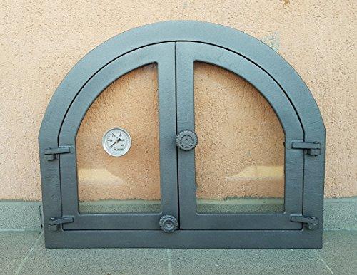 Backofentür Ofentür Pizzaofentür Holzbackofentür Steinbackofentür aus Gusseisen mit Thermometer und Ofenscheibe | Außenmaße: 595x480 mm | Öffnungsrichtung: zweiflügelig