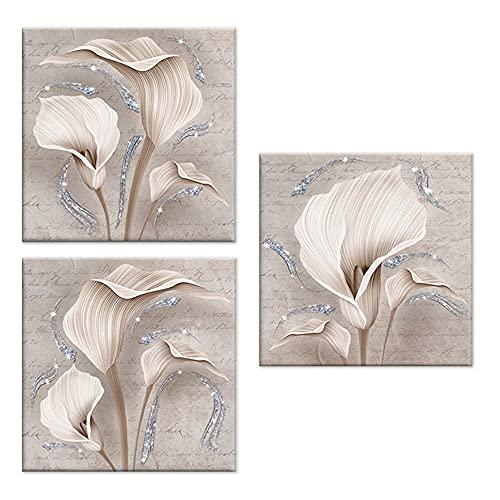 Lupia Set 3 Pezzi Quadri su Tela Tema Floreale Canvas Day Brillant con Glitter 38x38 cm Calle Shabby