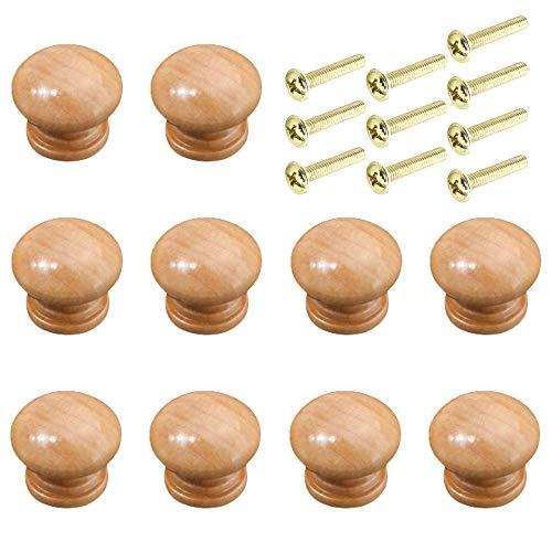 Ceqiny - Pomos redondos de madera para cajones (10 unidades, con tornillos, asas de madera, ideales para cocina, baño, dormitorio), color marrón claro