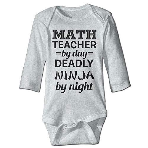 Body de manga larga para bebé, unisex, para maestro de matemáticas, ninja mortal, de manga larga, traje de sol, color ceniza