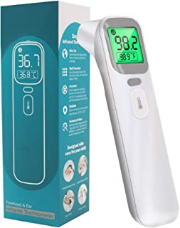Forehead and Ear Thermometer, Non Contact Infrared Thermometer for Baby, Kids and Adults, Instant Readings with LCD Display