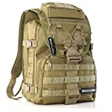 Evatac Tactical Backpack for Military Combat | Large Size Khaki 35L 600D Molle Bug Out Bag Or Every Day Travel Back Pack.