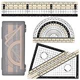Set de Geometría,Set de Matemáticas,juego de 4 piezas, Incluye Regla, Transportador de ángulos