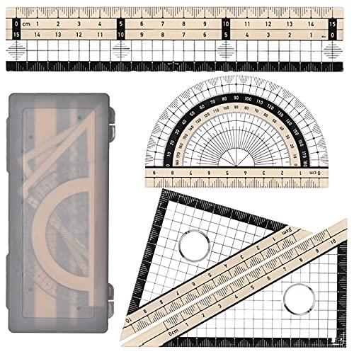 Set matematica, Kit Righello con Squadre e Goniometro, 4 Pezzi Matematica Geometria Set,per il Disegno, la Misurazione, il Modello Matematico, lo Strumento di Apprendimento