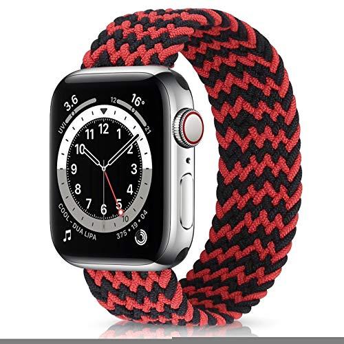 YGGFA Correa elástica de nailon para Apple Watch 6 Se Band para IWatch Serie 5 4 3 Correa trenzada Solo Loop 38 mm, 40 mm, 42 mm, 44 mm (color de la correa: negro rojo, tamaño: 38 40 mm L)