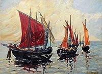 絵画 油絵 アントン(ドイツ) 作「帆船」インテリア