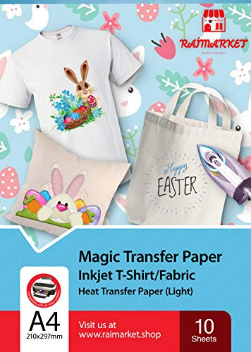 Transferpapier/Bügelpapier/Transferfolie für HELLE Textilien/Stoffe von Raimarket | 10 Blatt | A4 Inkjet Bügeleisen auf Papier / Transferfolie / T-Shirt-Transfers | Textilefolien | DIY Stoffdruck (10)