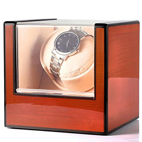 Kendal Single Watch Winder Box, Automatic Wood Watch Winder Case with...