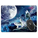 Extra Large (X-Large) Size Non-Slip Rectangle Mousepad, FINCIBO Wolf Pack Moon Mouse Pad for Home, Office and Gaming Desk