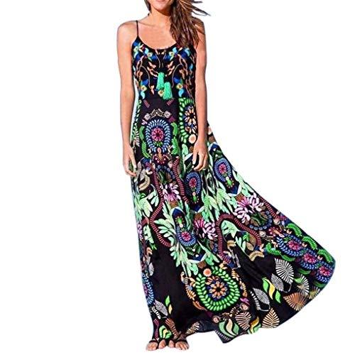 Vestido Boho para Mujer Vestido Largo Y Elegante para Tamaños Cómodos La Playa Vestido Sin Mangas Ropa con Volantes Vestido De Fiesta Flojo Moda Vintage Vestidos De Verano De Hippie Vestidos Largos