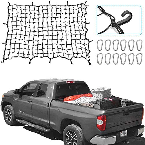 """RT-TCZ 5.9'x3.9' Bungee Cargo Net Stretches to 13.6'x8.9',Small 4""""x4"""" Mesh Heavy Duty Truck Bed Net with 12 Aluminium Alloy Hooks for Oversized Rooftop Cargo Rack & Small Trucks Load Tight"""