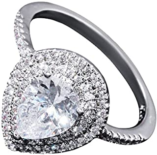 Engagement Wedding Band Ring for Women Fashion Ring Cushion Cut Zircon Water Drop Stone 925 Sterling Silver Pear Cut Ring Size 6-10