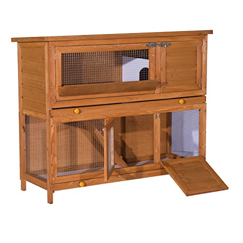 PawHut 2 Tier Elevated Wooden Rabbit Hutch Bunny House Small Animal Cage 47' L x 19' W x 39' H w/Sliding-Out Tray