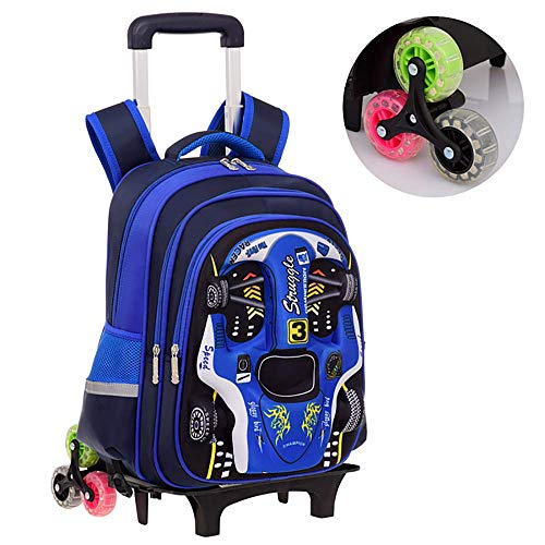 HCC& 3D Auto Leuchtend Jungen Mädchen Rollender Rucksack Treppen Steigen Entfernbar Trolley Schulrucksack Ultraleicht Wasserdicht 7-12 Jahre Alt,Blue