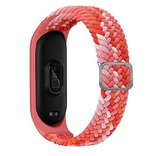 Niboow Correa Trenzada Compatible on Xiaomi Mi Band 6/5/4/3, Repuesto Deportiva Elástica Ajustable Pulseras Para Xiaomi Mi Band 6/Mi Band 5/Mi Band 4/Mi Band 3-Colorido Rojo