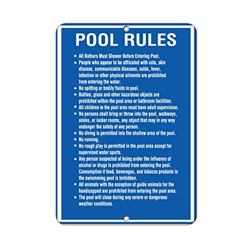 Pool Rules All Bathers Must Shower Before Entering Pool Aluminum Metal Sign Metal Wall Art Sign 8x12 inch