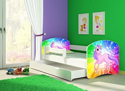 Clamaro \'Fantasia Weiß\' 140 x 70 Kinderbett Set inkl. Matratze, Lattenrost und mit Bettkasten Schublade, mit verstellbarem Rausfallschutz und Kantenschutzleisten, Design: 18 Einhorn Regenbogen