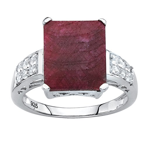 Sterling Silver Emerald Cut Genuine Red Ruby and Round Genuine Topaz Cocktail Ring Size 10