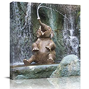 FOREVER20 Canvas Print Wall Art for Bathroom Kitchen Wall Decor Cute Elephant Playing Water Picture Painting Contemporary Artwork Stretched and Framed for Bedroom 12x12in
