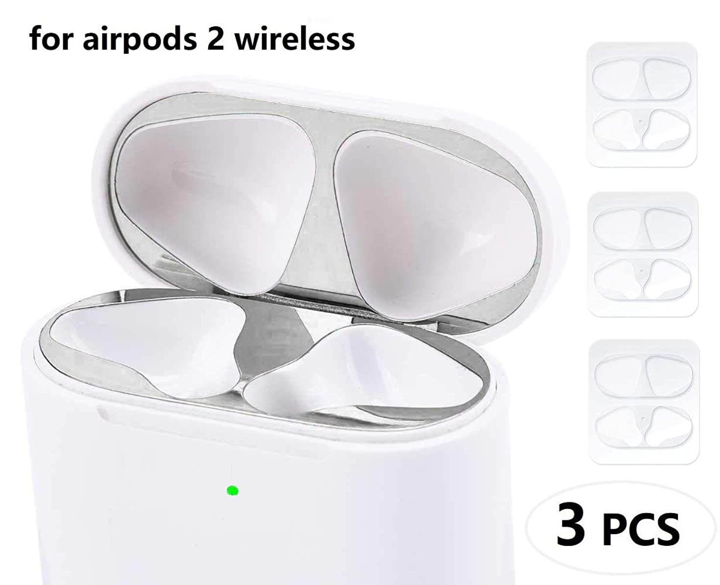JNSA Dust Guard for AirPods with Wireless Charging Case (Latest Model) [Chromium Plating][Protect AirPods from Metal Dust][Upgrade Slim] AirPods Dust Proof Film Protector (3 Set - Bling Silver)