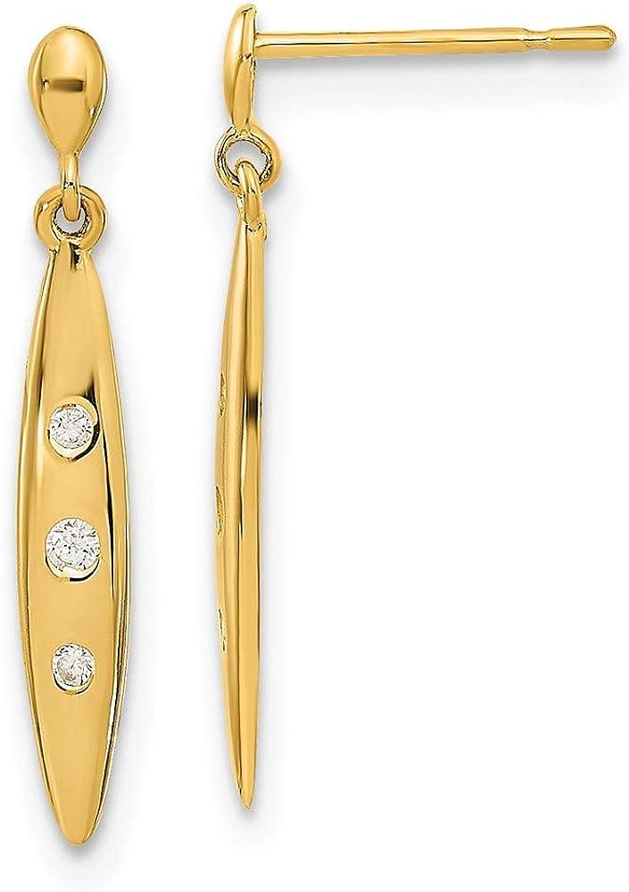 14k Yellow Gold Oval 3 Czs Drop Dangle Chandelier Post Stud Earrings Fine Jewelry For Women Gifts For Her