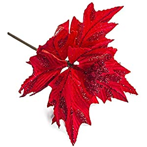 Ewer 6 Pcs Glitter Artificial Flowers Christmas Tree Decorative Red Poinsettia Bush Silk Flower for Wedding Home Xmas Tree Decor Floral Ornament, 8inch, Red