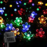 ITICdecor Solar Christmas String Flower Lights Outdoor Waterproof 50 LED Fairy Light Decorations for Garden Fence Patio Yard Christmas Tree, Lawn, Patio, Party Decoration (Multi-Colored)