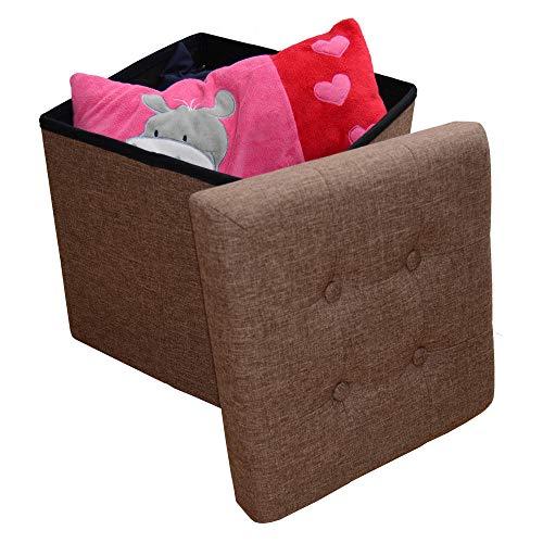 Style home Sitzbank Sitzhocker Aufbewahrungsbox mit Stauraum faltbar belastbar bis 300 kg Leinen 38x38x38 cm (Dunkelbraun)