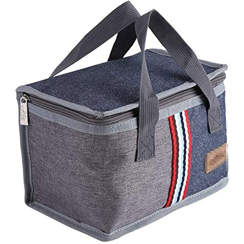 YCX Isolierte Lunch Bag Tragbare Tote Thermal Cooler Mittagessen Reise Picknick Lagerung Food Box Tasche, Für Aufbewahrung Von Wärme,Grau
