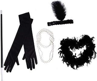 コスチュームセットフラッパーガールネックレスビーズタバコホルダーボアフェザーヘッドバンド&ロンググローブ女性用衣装 使い安い