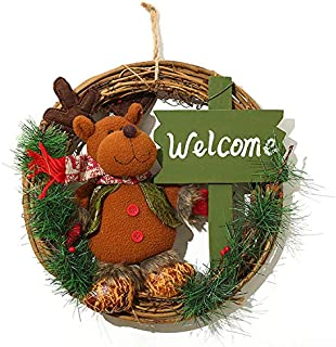 ZYL Santa Claus Snowman Elk Festival Wreath Rattan Circle Hanging Rings Christmas Decorations Holiday (Color : 1, Size : Diameter 33cm/13in)