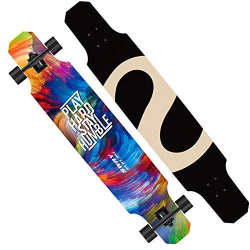 LYXQQ Longboard Skateboard, Professioneel Dansbord Jongens En Meisjes Straat Vaardigheden Skateboard Vier Ronde 9-Story Maple Dansbord Platte Bloem Downhill Dubbele Kick Concave Geschikt voor Jongens Beginners