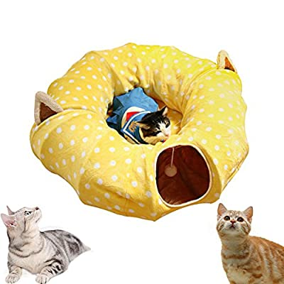 """Cat Tunnel with Central Mat for Cat Dog,Soft Plush Material and Full Moon Shaped, Length 98"""" Diameter 9.8"""", Yellow by ARTER"""