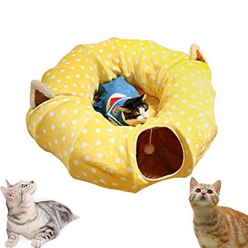 AUOON Cat Tunnel with Central Mat for Cat Dog,Soft Plush Material and...