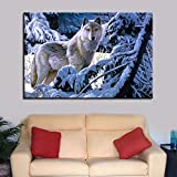 KWzEQ Imprimir en Lienzo Animal Wolf para Sala de Estar Cuadros Decorativos y pósters Arte de pared50x75cmPintura sin Marco